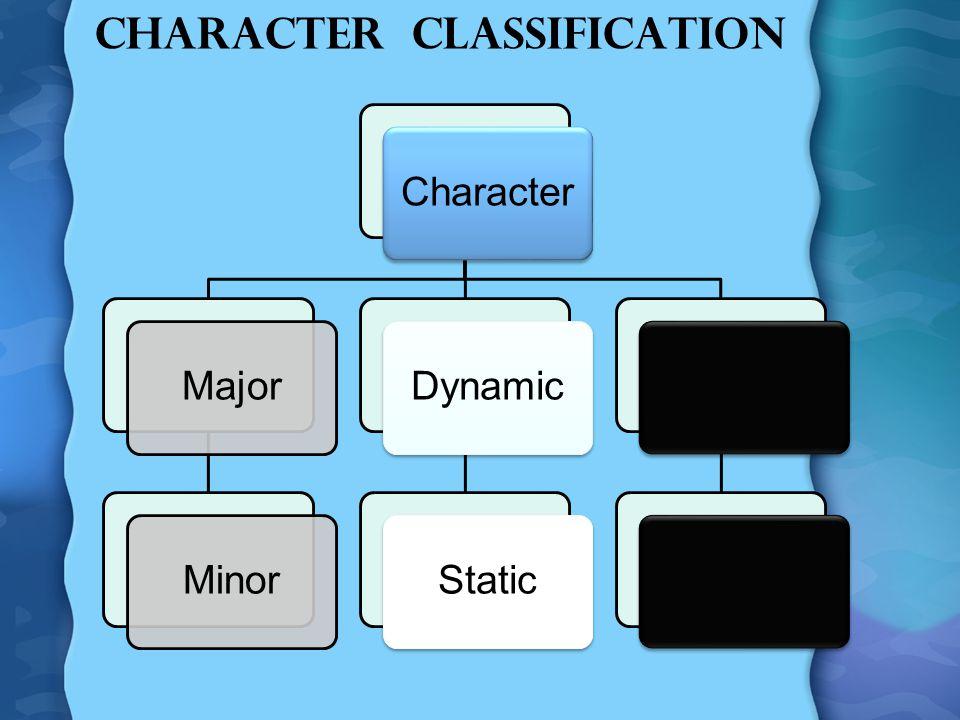 Character Classification CharacterMajorMinorDynamicStatic
