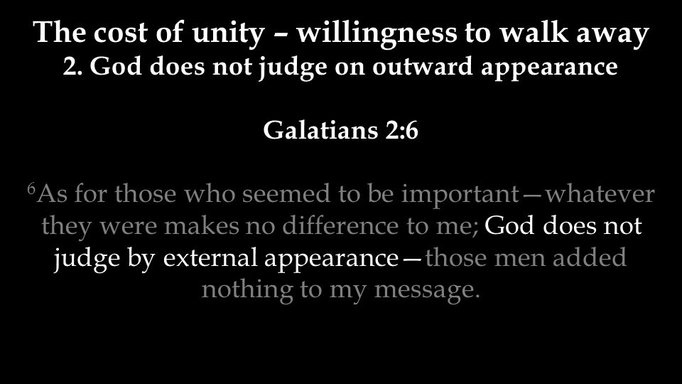 The cost of unity – willingness to walk away 2.