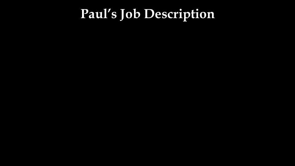 Paul's Job Description