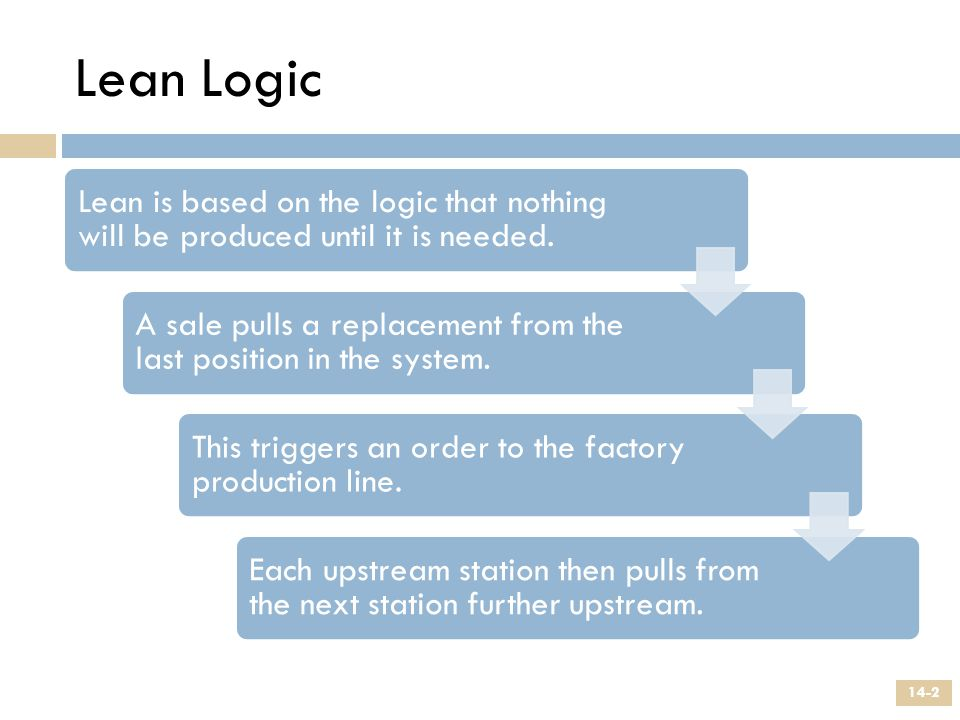 Lean Logic Lean is based on the logic that nothing will be produced until it is needed. A sale pulls a replacement from the last position in the syste