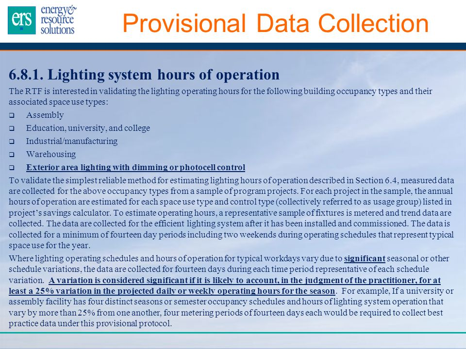 Provisional Data Collection 6.8.1.