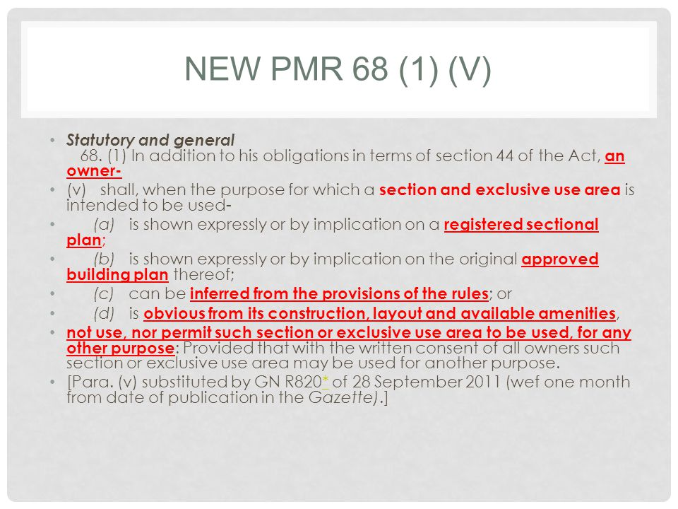 NEW PMR 68 (1) (V) Statutory and general 68.