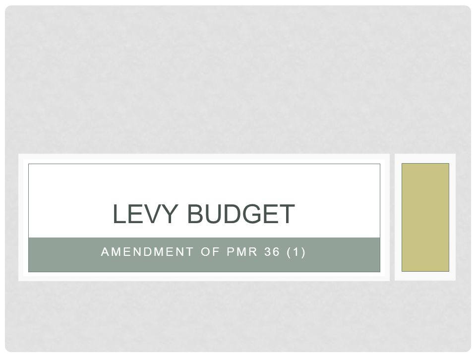 AMENDMENT OF PMR 36 (1) LEVY BUDGET