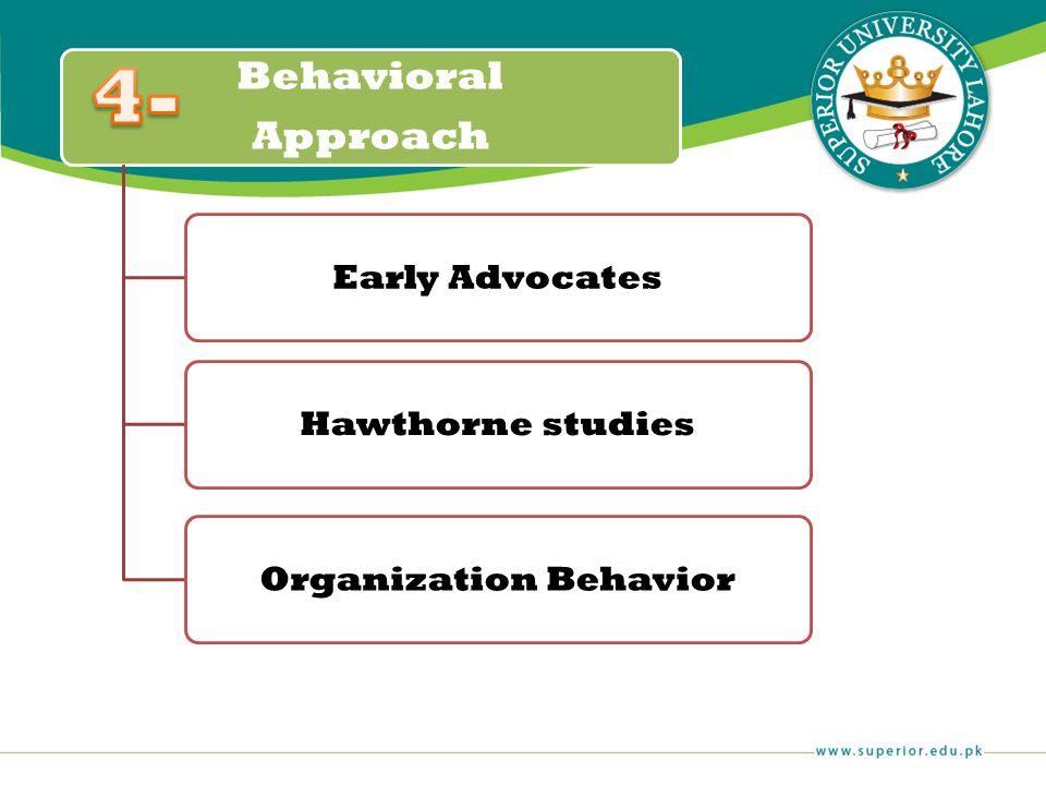 Behavioral Approach Early AdvocatesHawthorne studiesOrganization Behavior
