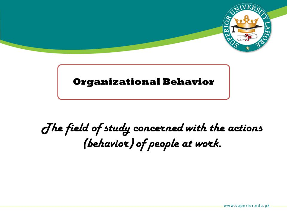 The field of study concerned with the actions (behavior) of people at work. Organizational Behavior