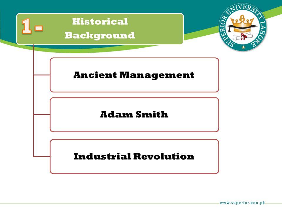 Historical Background Ancient ManagementAdam SmithIndustrial Revolution
