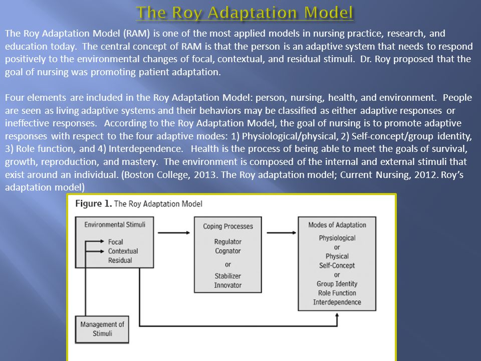 The Roy Adaptation Model (RAM) is one of the most applied models in nursing practice, research, and education today. The central concept of RAM is tha