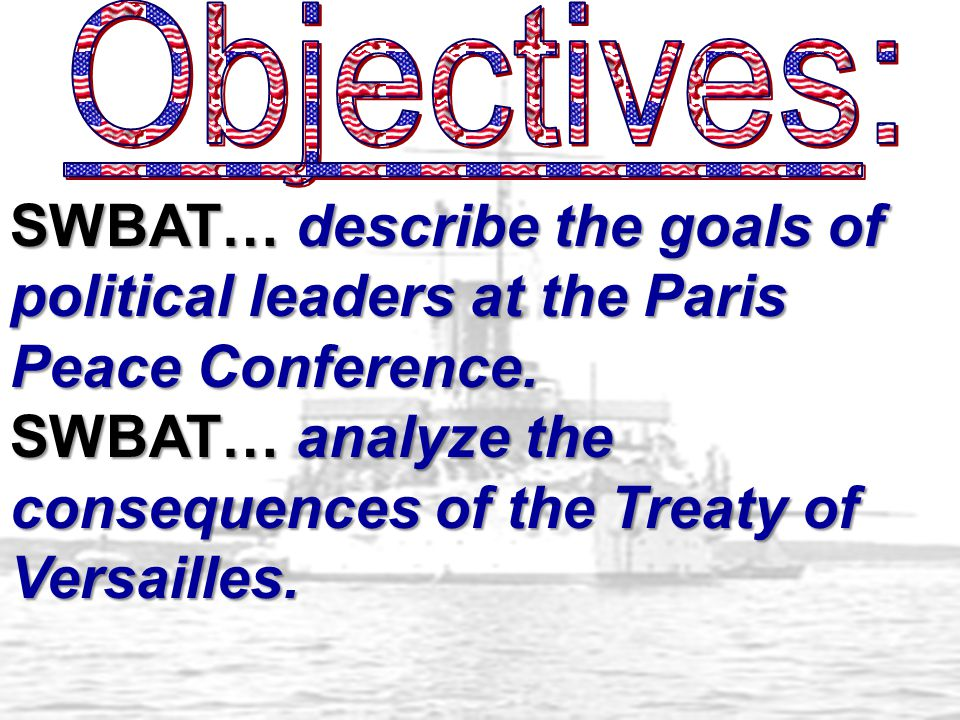 SWBAT… describe the goals of political leaders at the Paris Peace Conference.