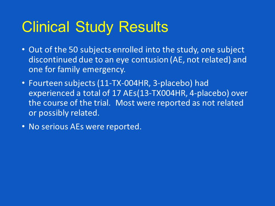Clinical Study Results Out of the 50 subjects enrolled into the study, one subject discontinued due to an eye contusion (AE, not related) and one for