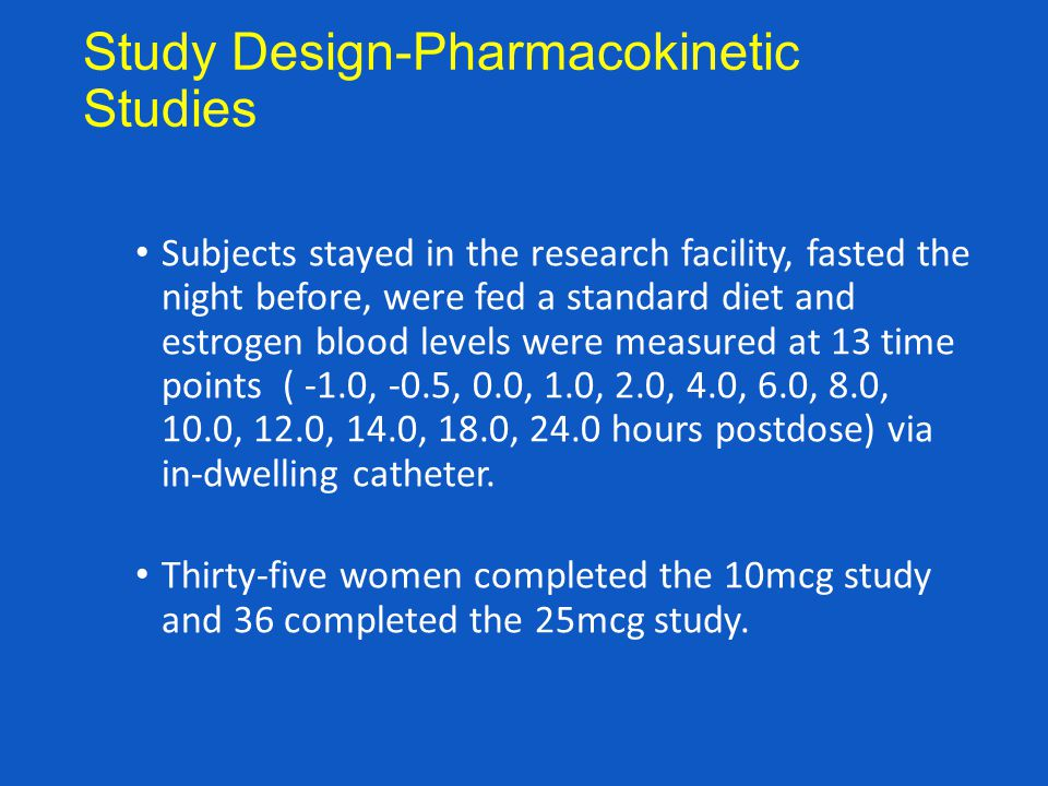 Study Design-Pharmacokinetic Studies Subjects stayed in the research facility, fasted the night before, were fed a standard diet and estrogen blood le