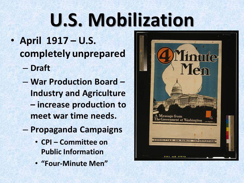 U.S. Mobilization April 1917 – U.S.