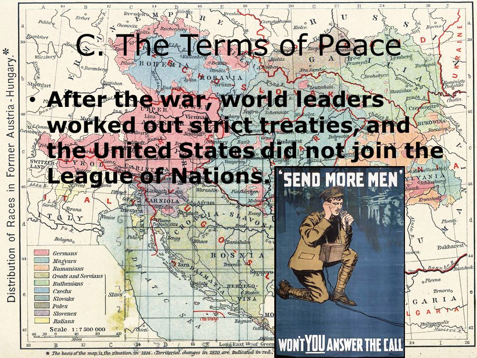 C. The Terms of Peace After the war, world leaders worked out strict treaties, and the United States did not join the League of Nations.