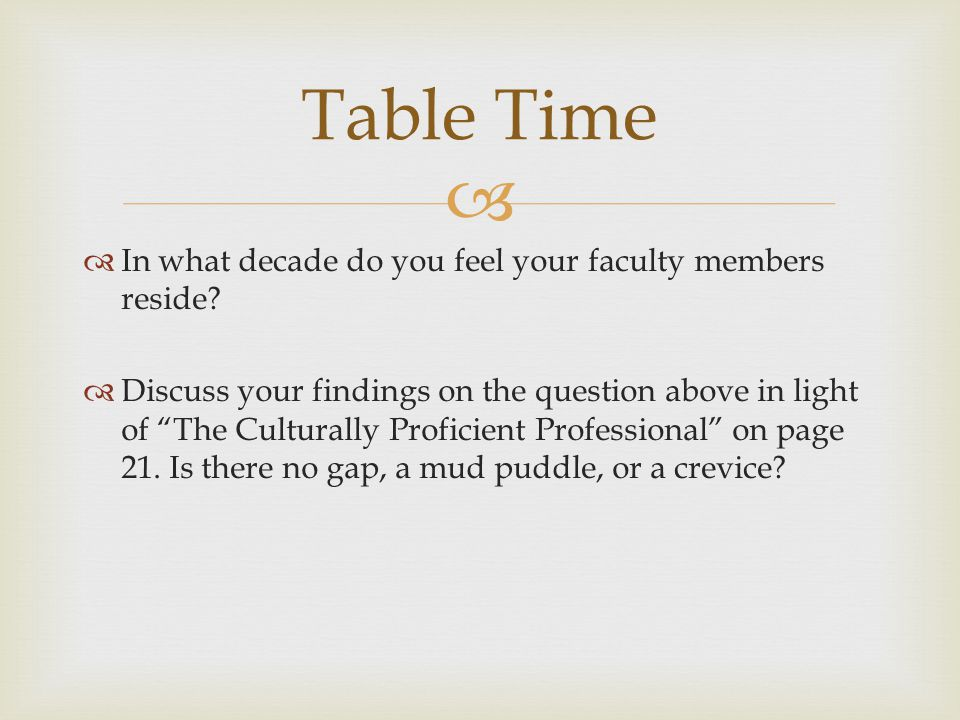   In what decade do you feel your faculty members reside.