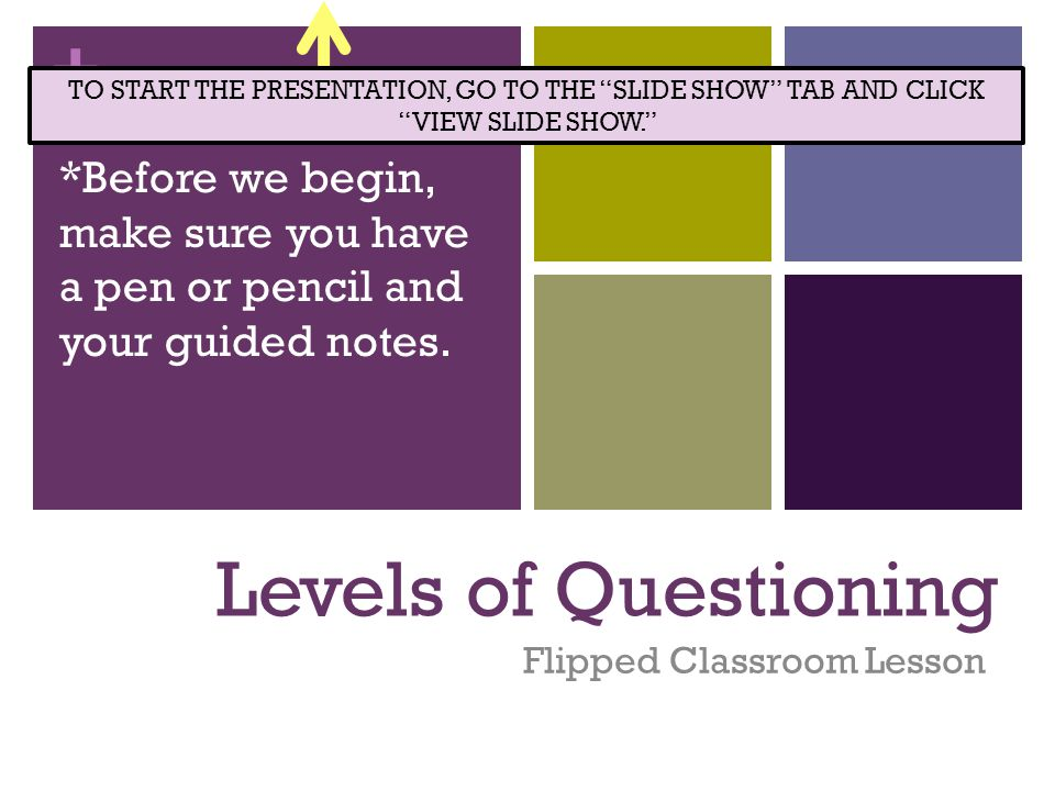 + Levels of Questioning Flipped Classroom Lesson *Before we begin, make sure you have a pen or pencil and your guided notes. TO START THE PRESENTATION