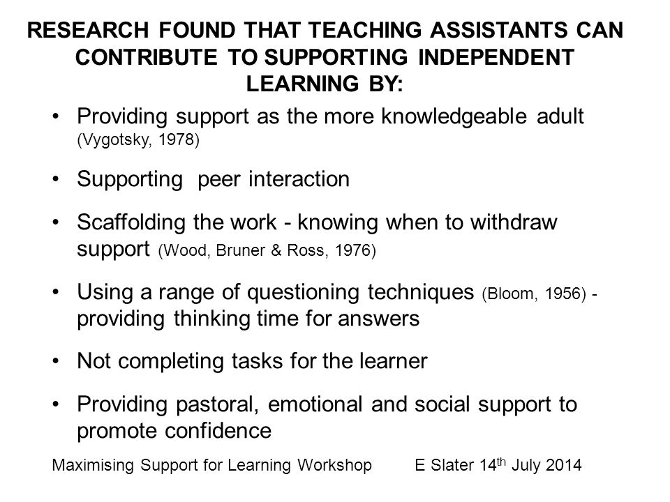 RESEARCH FOUND THAT TEACHING ASSISTANTS CAN CONTRIBUTE TO SUPPORTING INDEPENDENT LEARNING BY: Providing support as the more knowledgeable adult (Vygot
