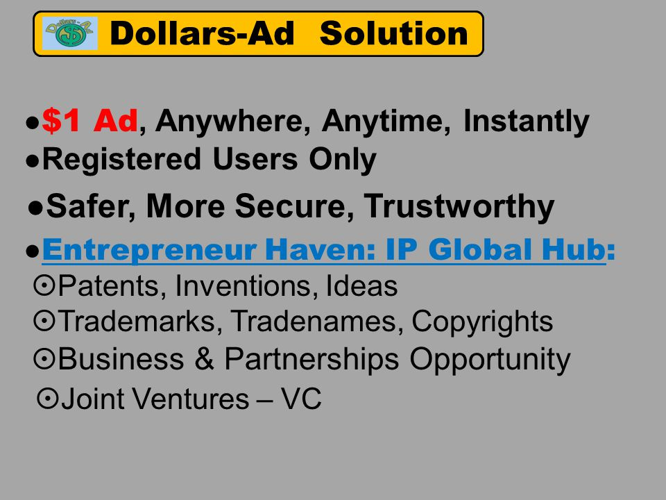 ● $1 Ad, Anywhere, Anytime, Instantly ● Registered Users Only ●Safer, More Secure, Trustworthy ● Entrepreneur Haven: IP Global Hub:  Patents, Inventions, Ideas  Trademarks, Tradenames, Copyrights  Business & Partnerships Opportunity  Joint Ventures – VC Dollars-Ad Solution