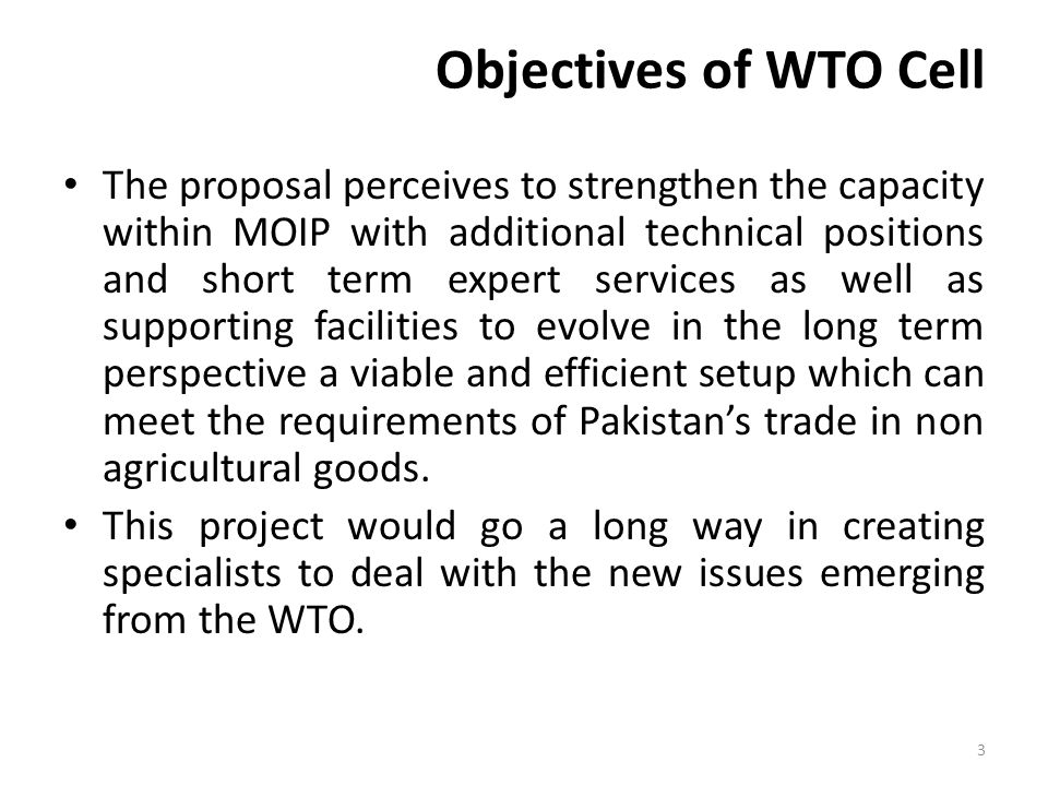 Objectives of WTO Cell The proposal perceives to strengthen the capacity within MOIP with additional technical positions and short term expert services as well as supporting facilities to evolve in the long term perspective a viable and efficient setup which can meet the requirements of Pakistan's trade in non agricultural goods.