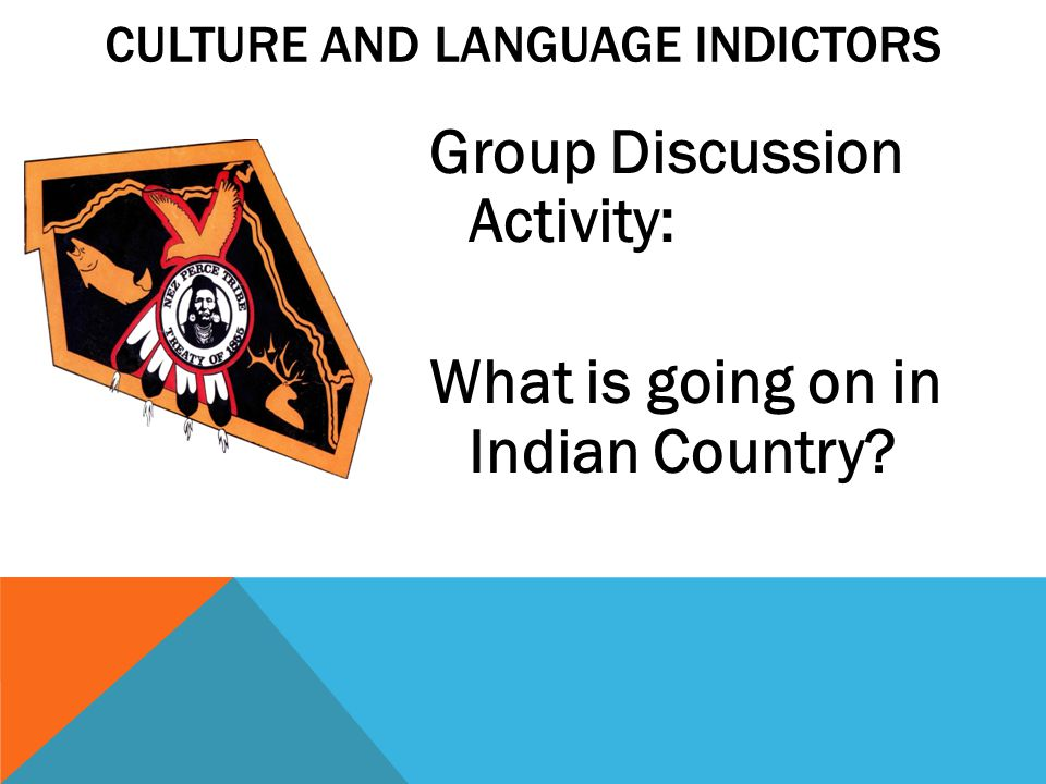 CULTURE AND LANGUAGE INDICTORS Group Discussion Activity: What is going on in Indian Country?