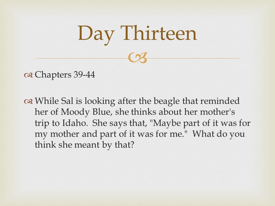   Chapters 39-44  By the end of the story, Sal has learned several lessons about herself and her family and friends.