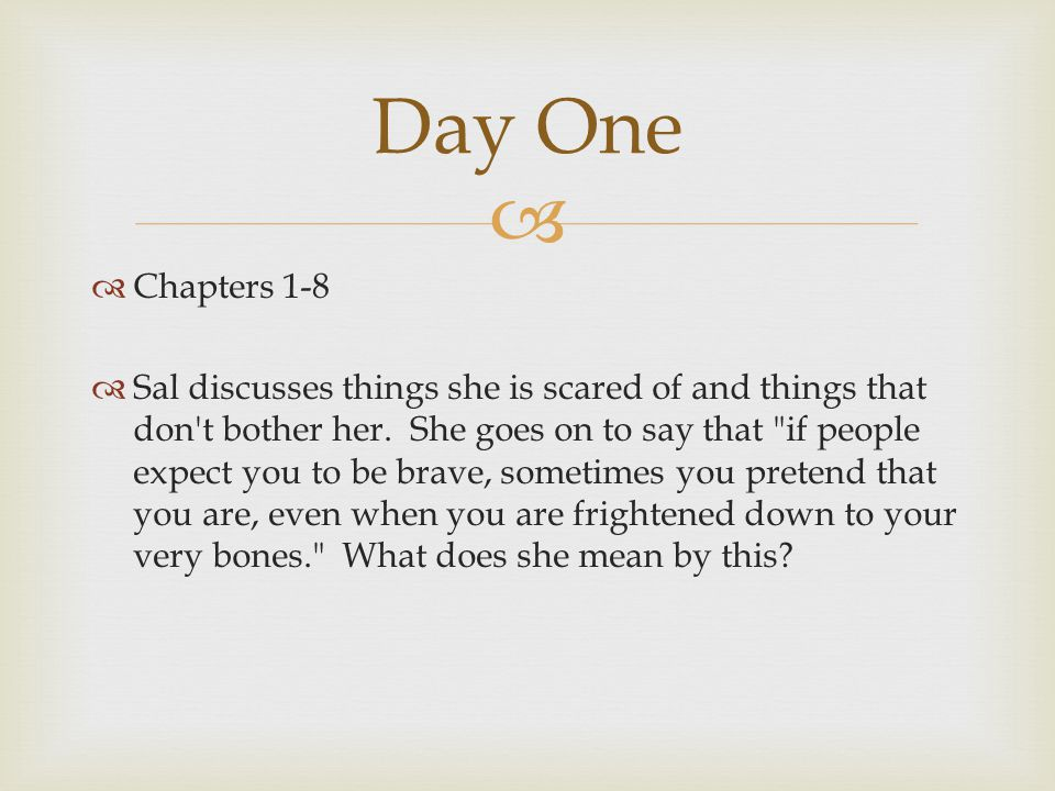   Chapters 1-8  Sal discusses things she is scared of and things that don't bother her. She goes on to say that