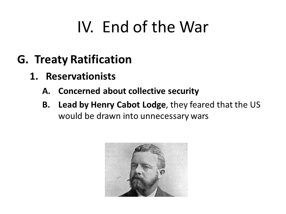 IV. End of the War G.