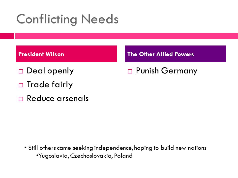 Conflicting Needs  Deal openly  Trade fairly  Reduce arsenals  Punish Germany President WilsonThe Other Allied Powers Still others came seeking in