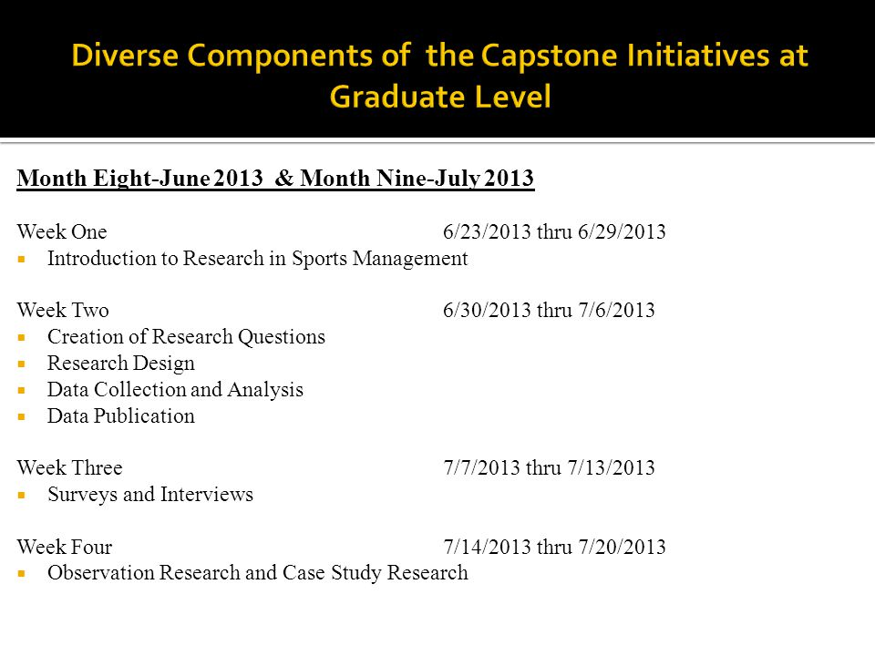 Month Eight-June 2013 & Month Nine-July 2013 Week One 6/23/2013 thru 6/29/2013  Introduction to Research in Sports Management Week Two6/30/2013 thru 7/6/2013  Creation of Research Questions  Research Design  Data Collection and Analysis  Data Publication Week Three7/7/2013 thru 7/13/2013  Surveys and Interviews Week Four7/14/2013 thru 7/20/2013  Observation Research and Case Study Research