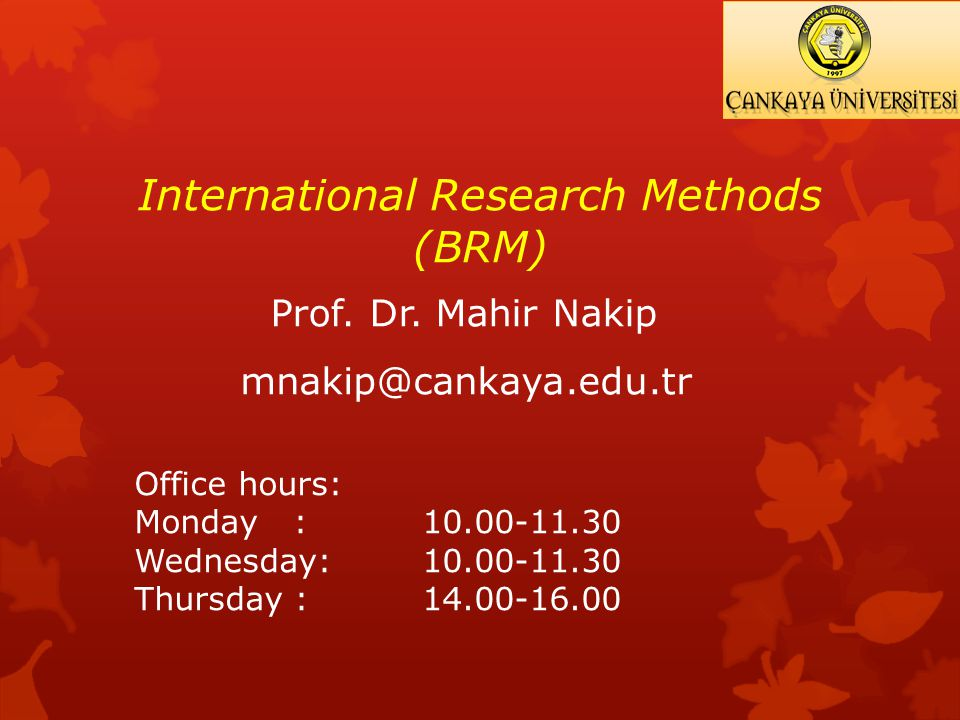 International Research Methods (BRM) Prof. Dr.