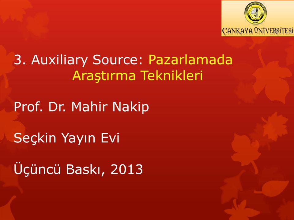 3. Auxiliary Source: Pazarlamada Araştırma Teknikleri Prof. Dr. Mahir Nakip Seçkin Yayın Evi Üçüncü Baskı, 2013