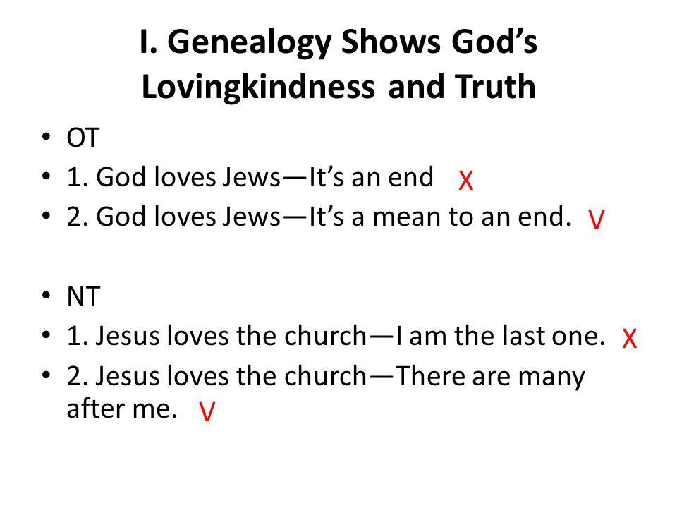 I. Genealogy Shows God's Lovingkindness and Truth OT 1.