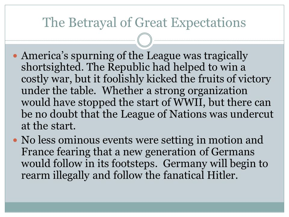 The Betrayal of Great Expectations America's spurning of the League was tragically shortsighted.