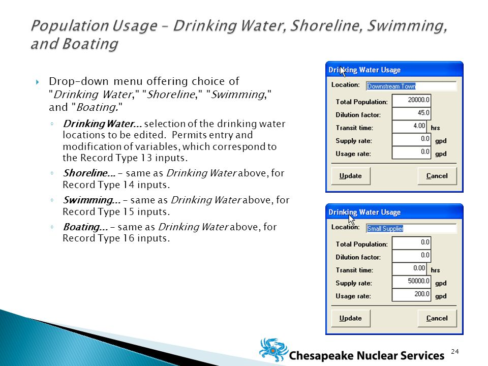  Drop-down menu offering choice of Drinking Water, Shoreline, Swimming, and Boating. ◦ Drinking Water...