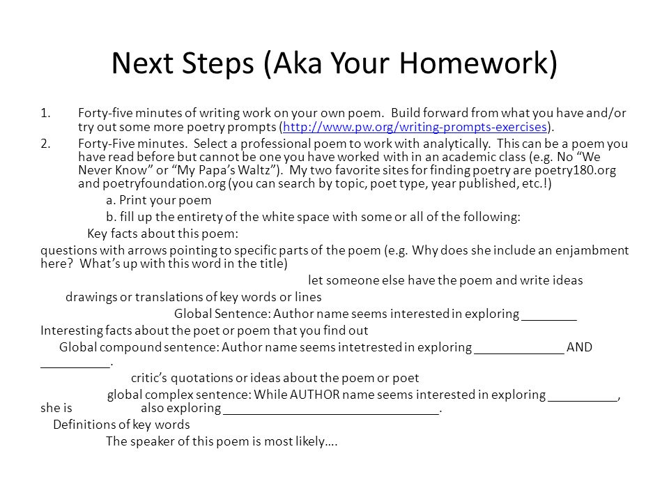 Next Steps (Aka Your Homework) 1.Forty-five minutes of writing work on your own poem.