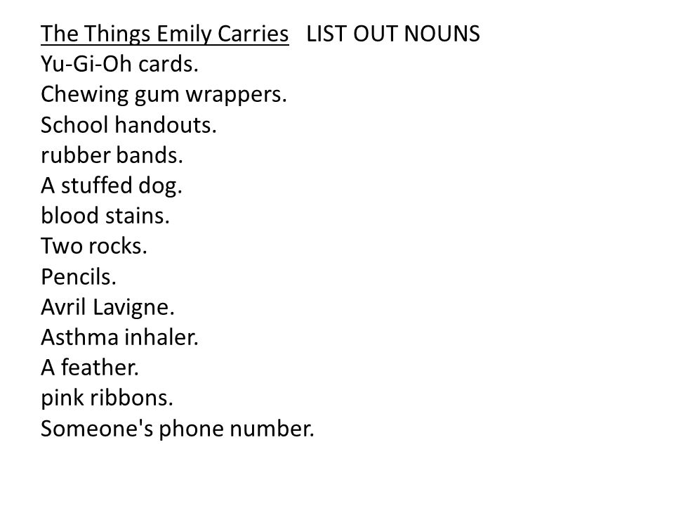 The Things Emily Carries LIST OUT NOUNS Yu-Gi-Oh cards.