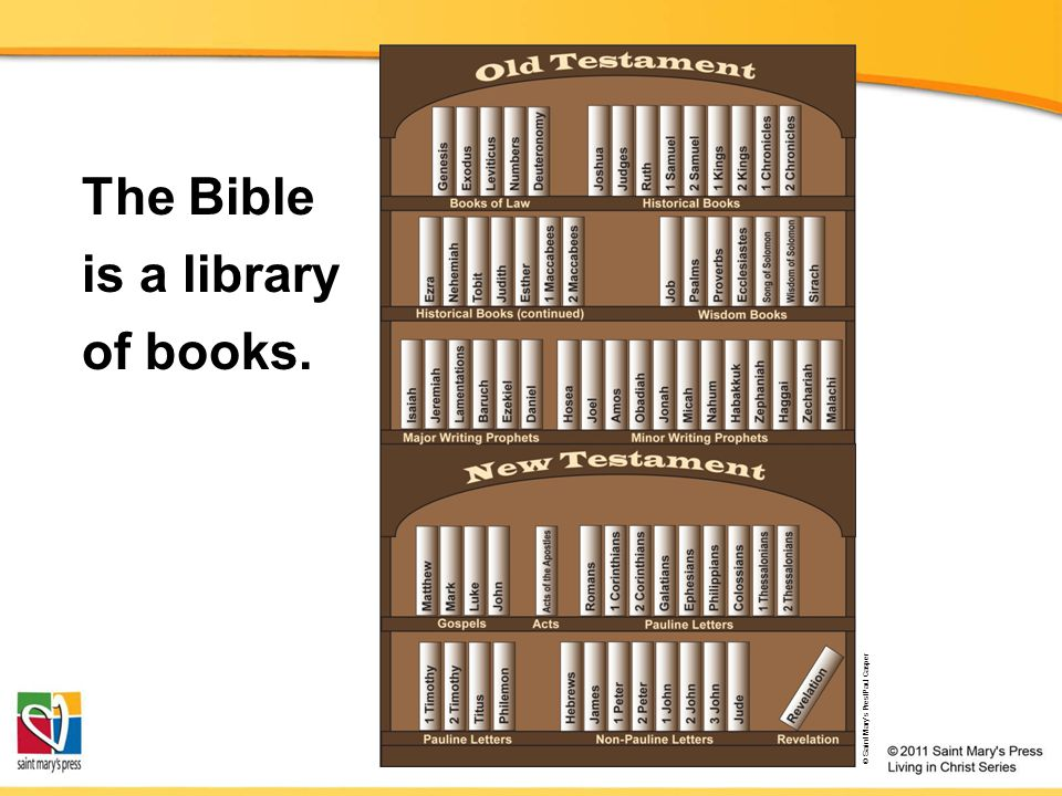 © Saint Mary's Pres/Paul Casper Books of Law The first five books of the Bible, the heart of the Old Testament Prophetic Books Eighteen books recording the warnings and promises of Israel's prophets Wisdom Books Seven books of poetry and wise sayings Historical Books Sixteen books of religious history and a few historical novellas