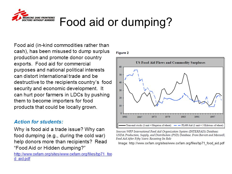 Food aid or dumping? Food aid (in-kind commodities rather than cash), has been misused to dump surplus production and promote donor country exports. F