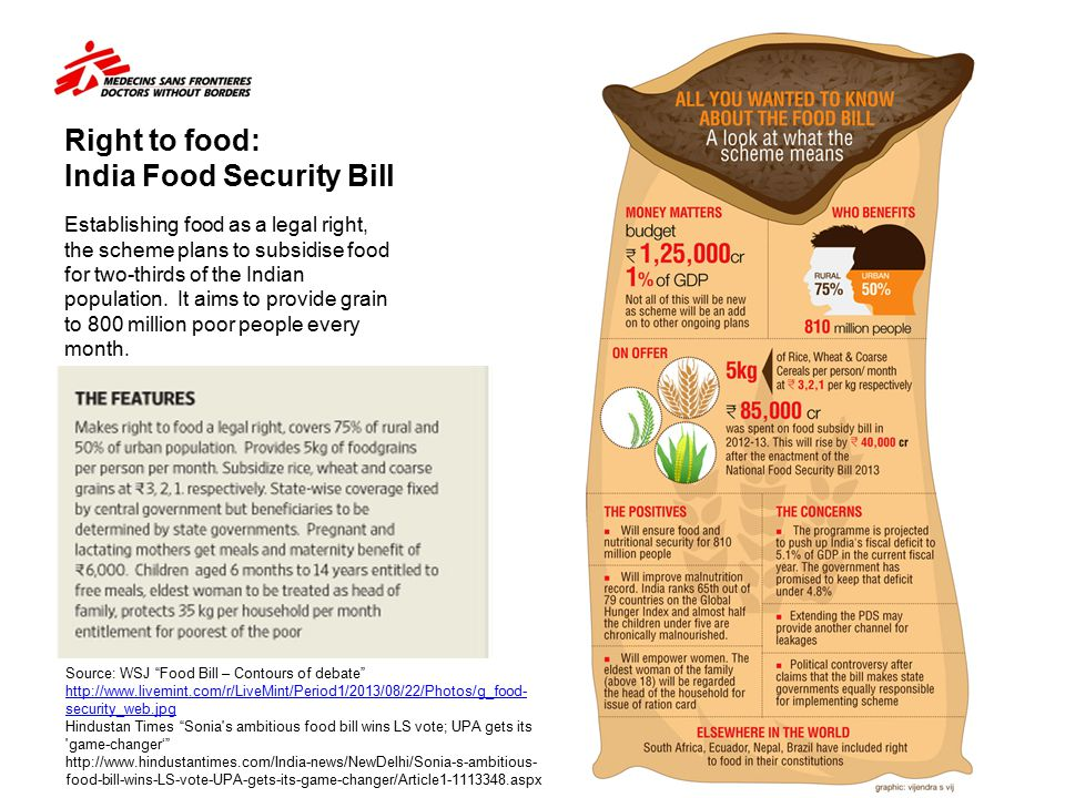 Right to food: India Food Security Bill Establishing food as a legal right, the scheme plans to subsidise food for two-thirds of the Indian population