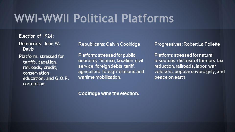 WWI-WWII Political Platforms Election of 1924: Democrats: John W. Davis Platform: stressed for tariffs, taxation, railroads, credit, conservation, edu