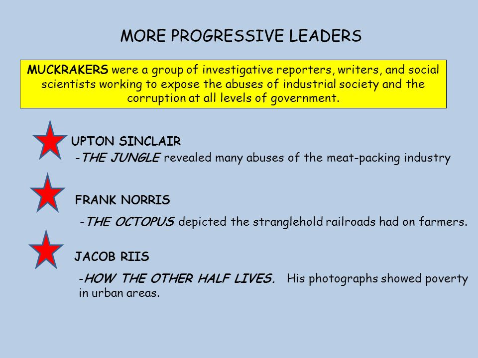 MORE PROGRESSIVE LEADERS FRANK NORRIS UPTON SINCLAIR -THE JUNGLE revealed many abuses of the meat-packing industry -THE OCTOPUS depicted the stranglehold railroads had on farmers.