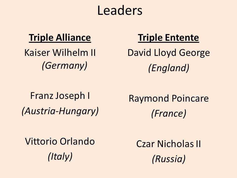 Leaders Triple Alliance Kaiser Wilhelm II (Germany) Franz Joseph I (Austria-Hungary) Vittorio Orlando (Italy) Triple Entente David Lloyd George (England) Raymond Poincare (France) Czar Nicholas II (Russia)