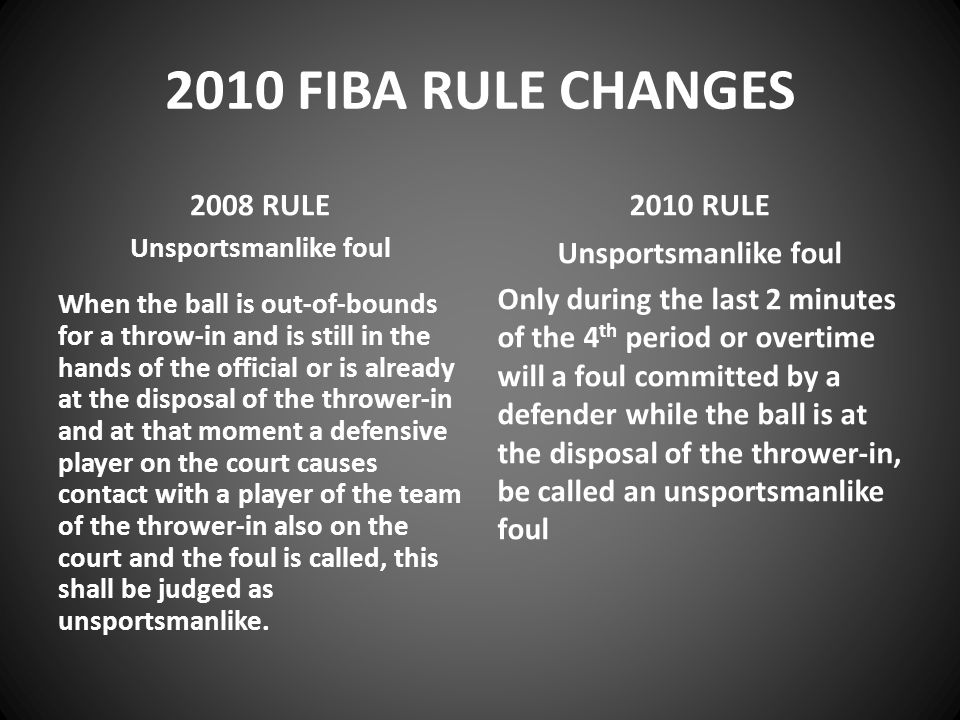 2010 FIBA RULE CHANGES 2008 RULE Unsportsmanlike foul When the ball is out-of-bounds for a throw-in and is still in the hands of the official or is already at the disposal of the thrower-in and at that moment a defensive player on the court causes contact with a player of the team of the thrower-in also on the court and the foul is called, this shall be judged as unsportsmanlike.