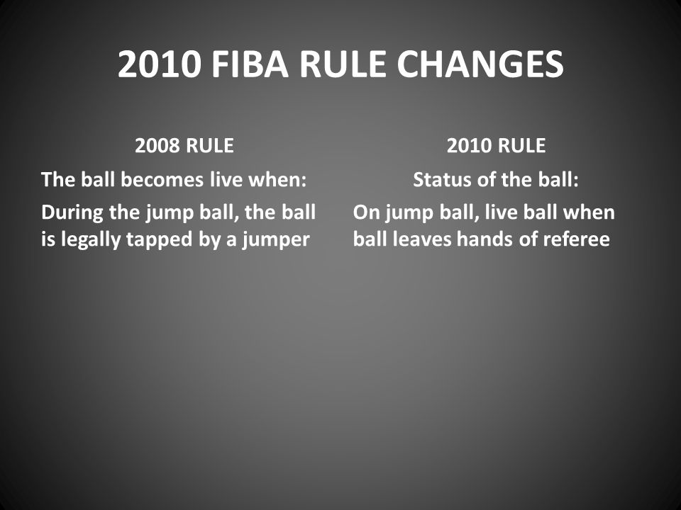 2010 FIBA RULE CHANGES 2008 RULE The ball becomes live when: During the jump ball, the ball is legally tapped by a jumper 2010 RULE Status of the ball: On jump ball, live ball when ball leaves hands of referee