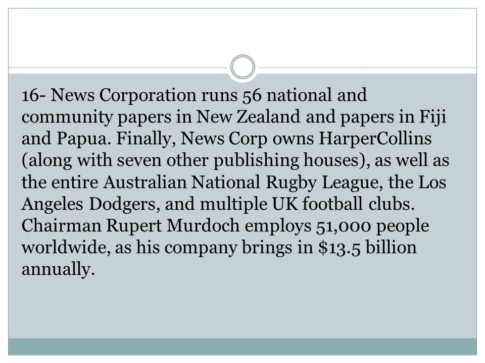 16- News Corporation runs 56 national and community papers in New Zealand and papers in Fiji and Papua.