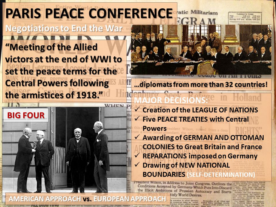 """PARIS PEACE CONFERENCE Negotiations to End the War """"Meeting of the Allied victors at the end of WWI to set the peace terms for the Central Powers foll"""