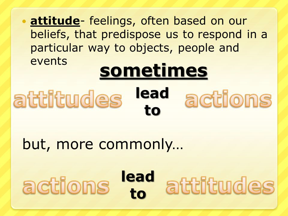 attitude- feelings, often based on our beliefs, that predispose us to respond in a particular way to objects, people and events leadto sometimes but, more commonly… leadto