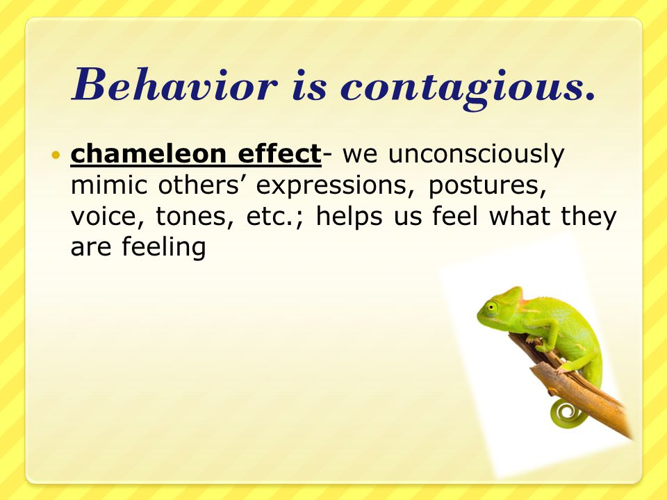 Behavior is contagious.