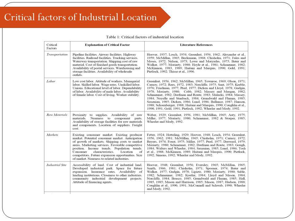 Critical factors of Industrial Location