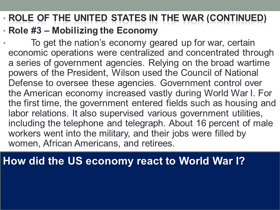 How did the US economy react to World War I