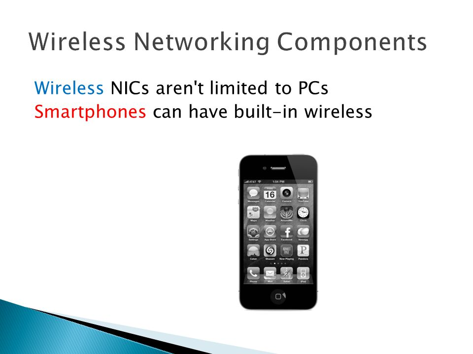 Wireless NICs aren t limited to PCs Smartphones can have built-in wireless