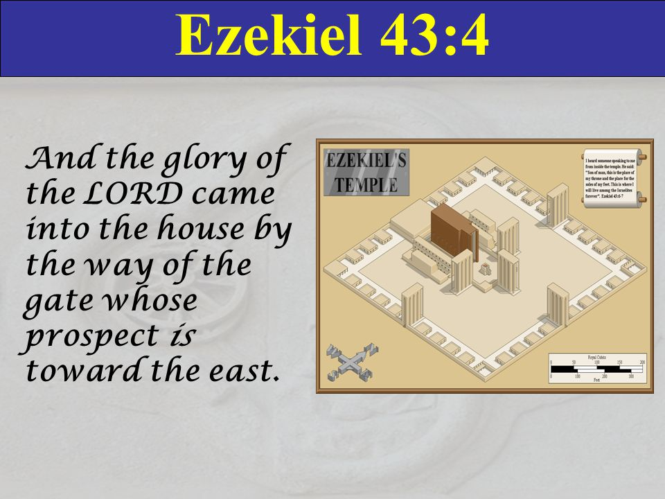 Ezekiel 43:4 And the glory of the LORD came into the house by the way of the gate whose prospect is toward the east.